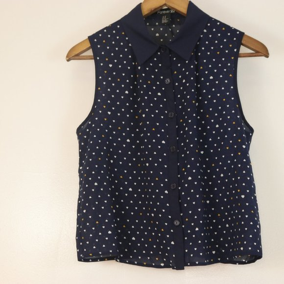 Forever 21 Navy Button Up Sleeveless M